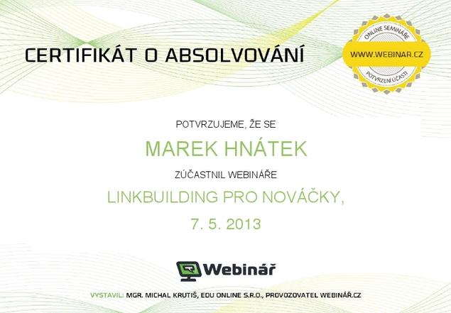 Certifikát – webinář linkbuildingu
