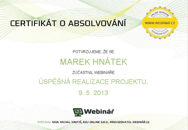 Certifikát – webinář realizace projektu